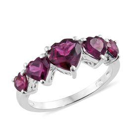 Rhodolite Garnet (Hrt 1.25 Ct) 5 Stone Ring in Sterling Silver 2.750 Ct.