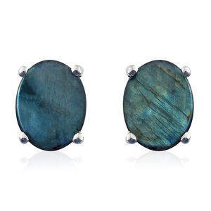 Spectrolite (Ovl) Stud Earrings (with Push Back) in Platinum Overlay Sterling Silver 3.500 Ct.