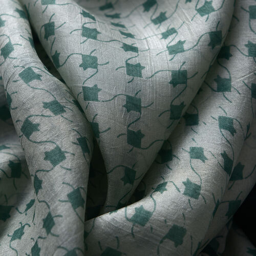 100% Mulberry Silk Multi Colour Floral and Leaves Pattern Green Colour Scarf (Size 180x100 Cm)
