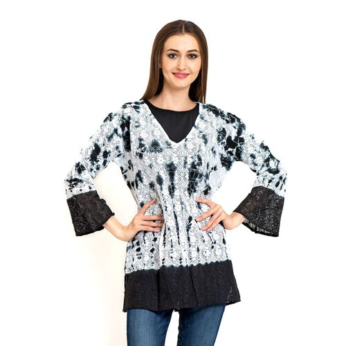 100% Cotton Laser Cut Floral Pattern White and Black Colour Ombre Effects Poncho (Size 70x50 Cm)