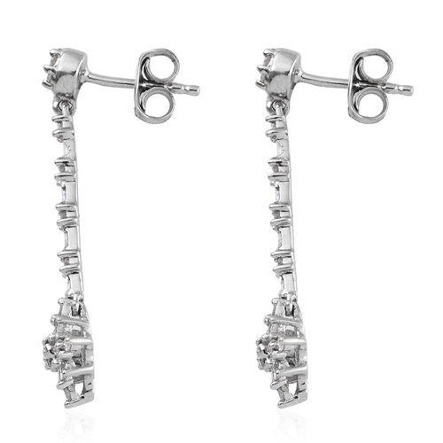 Diamond (Bgt and Rnd) Dangling Earrings (with Push Back) in Platinum Overlay Sterling Silver 0.501 Ct.