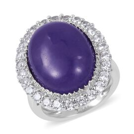 DOD - Rare Size Purple Jade (Ovl 20x15mm, 18.00 Ct), White Topaz Ring in Platinum Overlay Sterling Silver 20.500 Ct. Silver wt 6.37 Gms.