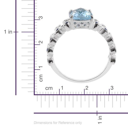 Sky Blue Topaz (Cush), Swarovski Sapphire Colour Crystal Ring in Sterling Silver 3.250 Ct.