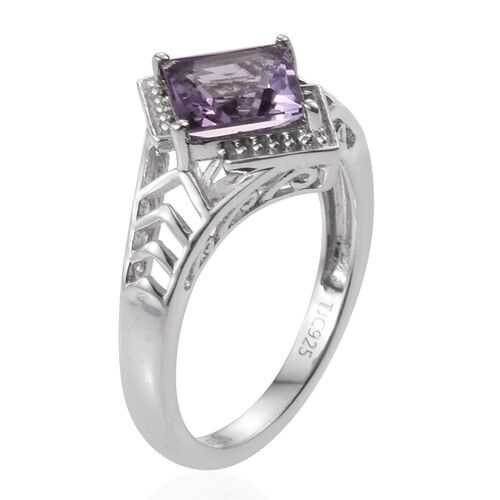 Stefy Rose De France Amethyst (Sqr 2.00 Ct), Pink Sapphire Ring in Platinum Overlay Sterling Silver 2.050 Ct.