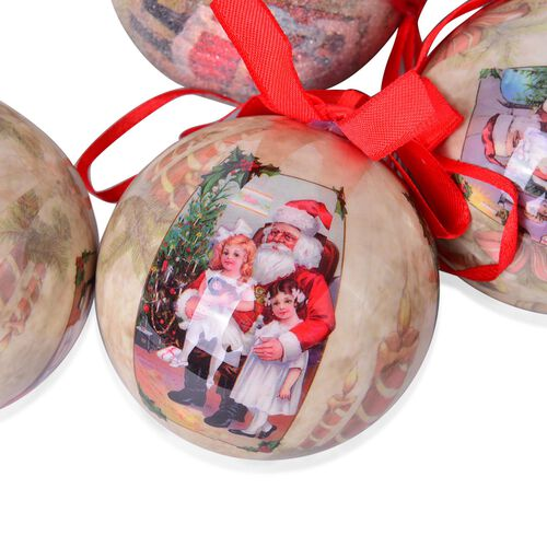 Set of 14 - Green and Multi Colour Santa Pattern Christmas Decoration Baubles in a Box (Size 21.5X15 Cm)