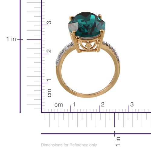 Crystal from Swarovski - Emerald Colour Crystal (Ovl) Ring in 14K Gold Overlay Sterling Silver 10.750 Ct.