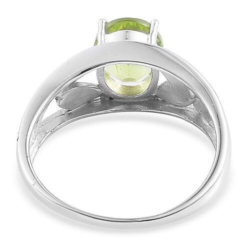 AA Hebei Peridot (Ovl) Solitaire Ring in Platinum Overlay Sterling Silver 3.000 Ct.