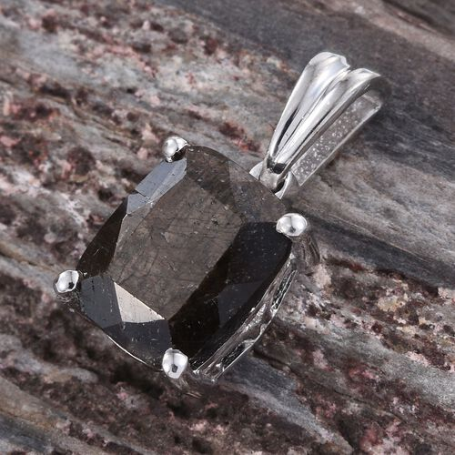 Natural Zawadi Golden Sheen Sapphire (Cush) Solitaire Pendant in Platinum Overlay Sterling Silver 3.500 Ct.