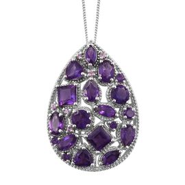 Designer Inspired - Amethyst (Sqr), Pink Sapphire Pendant with Chain (Size 18) in Platinum Overlay Sterling Silver 6.000 Ct.