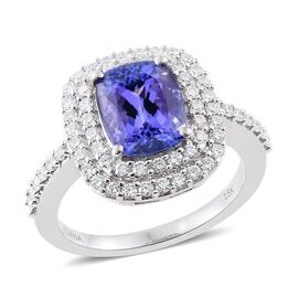 ILIANA 18K White Gold 4 Carat AAA Tanzanite Ring with Two Row Diamond SI G-H