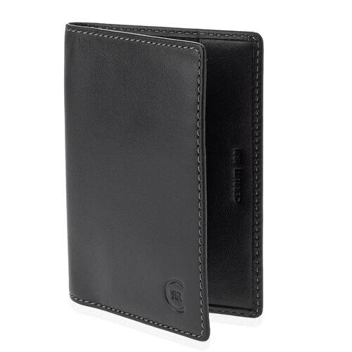 Close Out Deal - CERRUTI 1881 London Genuine Leather Passport Holder Capri Wallet- Black (Size 13x9.5 Cm)