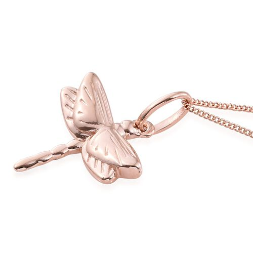 Rose Gold Overlay Sterling Silver Dragonfly Pendant With Chain, Silver wt. 3.13 Gms.
