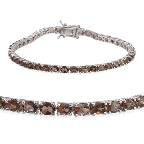 Brazilian Andalusite (Ovl) Tennis Bracelet (Size 7.5) in Platinum Overlay Sterling Silver 7.500 Ct.