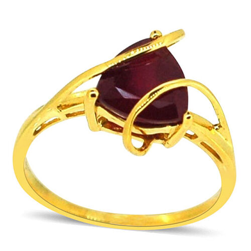 African Ruby (Trl) Solitaire Ring in 14K Gold Overlay Sterling Silver 3.250 Ct.