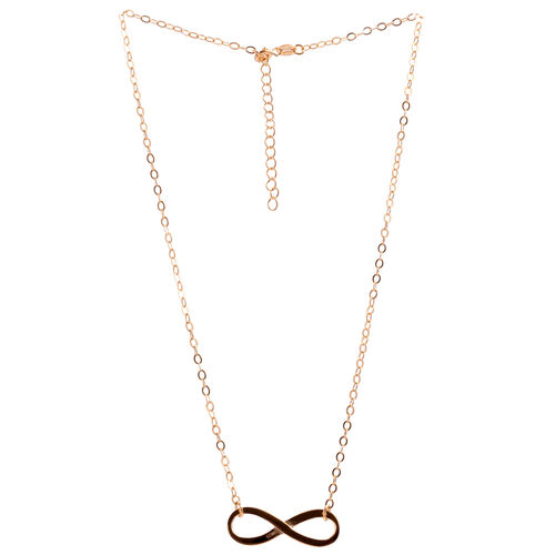 Close Out Deal 14K Gold Overlay Sterling Silver Infinity Necklace (Size 17.5 with Extender), Silver Wt 3.20 Gms.