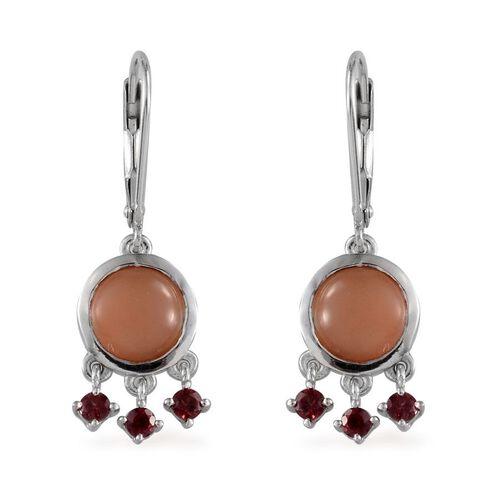 Mitiyagoda Peach Moonstone (Rnd), Rhodolite Garnet Earrings in Platinum Overlay Sterling Silver 10.500 Ct.