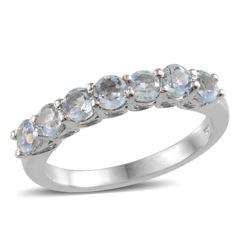 Espirito Santo Aquamarine (Rnd) 7 Stone Ring in Platinum Overlay Sterling Silver 1.150 Ct.