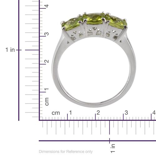 Hebei Peridot (Cush) Trilogy Ring in Platinum Overlay Sterling Silver 2.750 Ct.