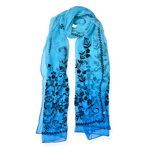 100% Mulberry Silk Black Colour Velvet Floral Pattern Blue Colour Scarf (Size 170X50 Cm)