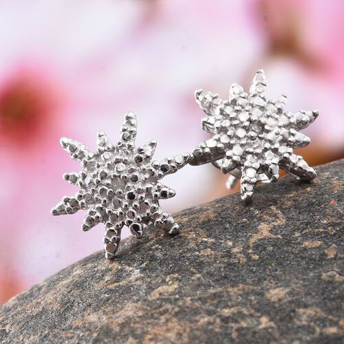 Diamond (Rnd) Starburst Stud Earrings (with Push Back) in Platinum Overlay Sterling Silver