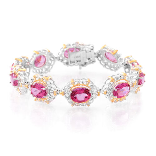 New York Closeout-Mystic Pink Coated Topaz (Ovl) Bracelet (Size 7.25) in Rhodium and Gold Overlay Sterling Silver 20.000 Ct.