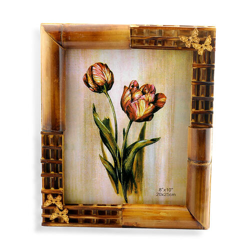 (Option 1) Bamboo Effect Butterfly Photo Frame (Size 8x10 in)