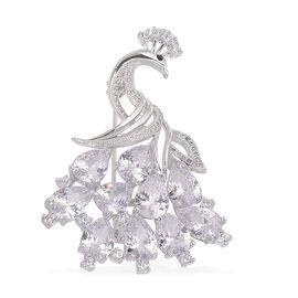 AAA Simulated White Diamond and Black Austrian Crystal Peacock Brooch in Silver Tone