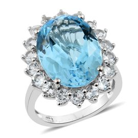 TJC Launch- Very Rare AAA Sky Blue Topaz (Ovl 18x13 mm 14.50 Ct), White Topaz Ring in Platinum Overlay Sterling Silver 17.000 Ct.
