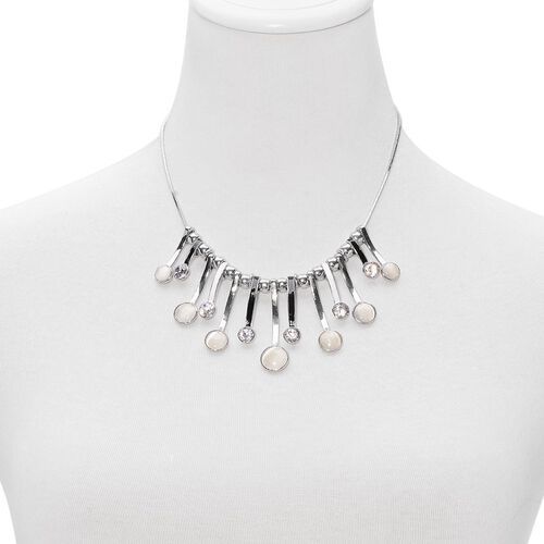 Simulated White Cats Eye and Simulated White Diamond Enameled Necklace (Size 18) in Silver Tone