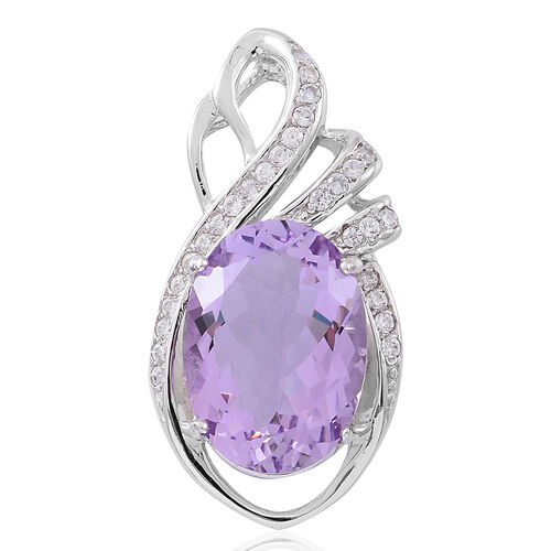 Rare Size Rose De France Amethyst (Ovl 18x13, 11.25 Ct), Natural White Cambodian Zircon Pendant in Rhodium Plated Sterling Silver 12.250 Ct.