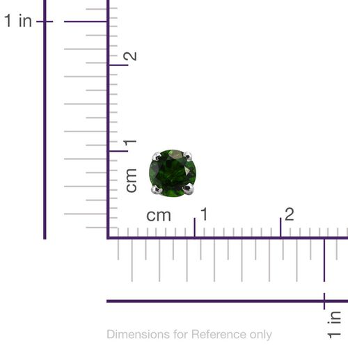 AAA Russian Diopside (Rnd) Stud Earrings (with Push Back) in Platinum Overlay Sterling Silver 1.000 Ct.