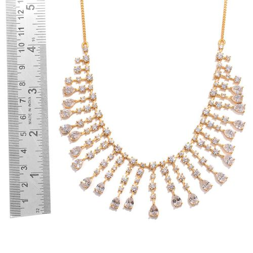 J Francis - 14K Gold Overlay Sterling Silver (Pear) Necklace (Size 18) Made with SWAROVSKI ZIRCONIA