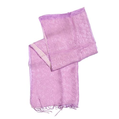 100% Mulberry Silk Purple Colour Leaves Pattern Scarf (Size 180x50 Cm)
