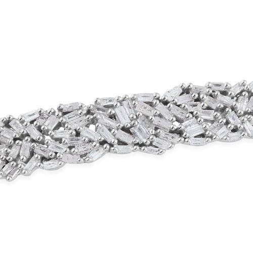Designer Inspired - Firework Diamond (Bgt) Adjustable Bracelet (Size 6.5 to 7.5) in Platinum Overlay Sterling Silver 0.750 Ct.
