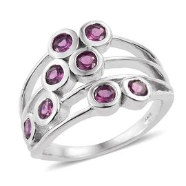 Rare Mozambique Grape Colour Garnet (Rnd) Scatter Ring in Platinum Overlay Sterling Silver 1.000 Ct.