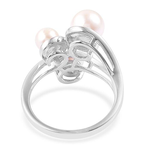 Japanese Akoya Pearl (Rnd 7-8mm) Ring in Platinum Overlay Sterling Silver
