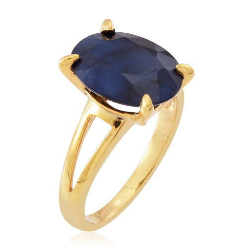 Blue Sapphire (Ovl) Solitaire Ring in 14K Gold Overlay Sterling Silver 7.500 Ct.