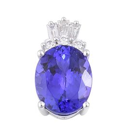ILIANA 18K White Gold 4.50 Ct. AAA Tanzanite Pendant with Diamond