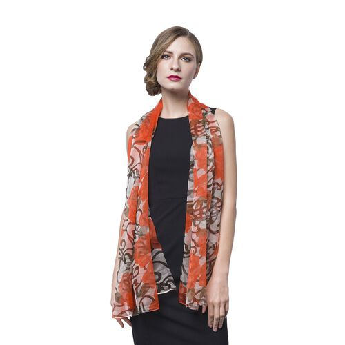 40% Mulberry Silk Orange, White and Black Colour Floral Pattern Scarf (Size 160X100 Cm)