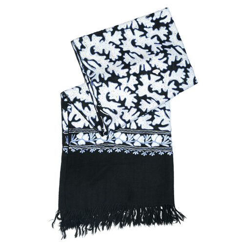 Very Limited Edition 100% Merino Wool Black, White and Blue Colour Hand Embroidered Shawl with Tassels (Size 190x70 Cm)