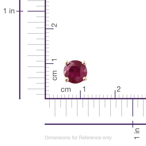 9K Yellow Gold 0.75 Carat AAA Burmese Ruby (Rnd) Stud Earrings (with Push Back)