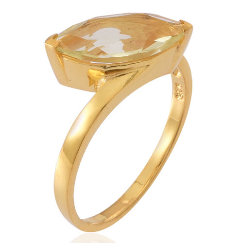 Lemon Quartz (Mrq) Solitaire Ring in 14K Gold Overlay Sterling Silver 2.250 Ct.