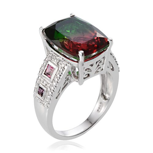 Tourmaline Colour Quartz (Cush 12.75 Ct), Rhodolite Garnet and Diamond Ring in Platinum Overlay Sterling Silver 13.520 Ct.