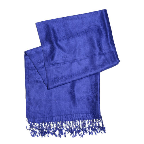 Silk Mark - 100% Super Fine Silk Parachute Purple Colour Floral and Paisley Pattern Jacquard Jamawar Scarf with Fringes (Size 180x70 Cm) (Weight 125 - 140 Gms)