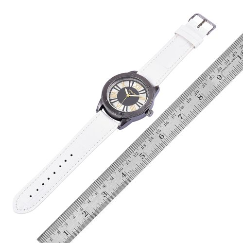 STRADA Japanese Movement Water Resistant Watch in Black Tone with White Colour Strap