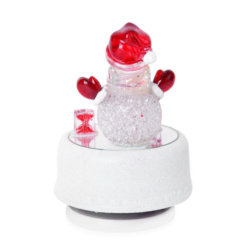 Home Decor - Multi Colour LED Light Rotating Musical Snowman with Red Hat and Gifts (Size 15X8 Cm)