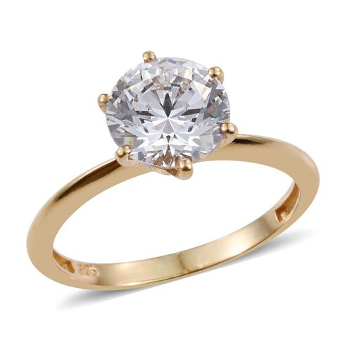 J Francis - 14K Gold Overlay Sterling Silver (Rnd) Solitaire Ring Made with SWAROVSKI ZIRCONIA
