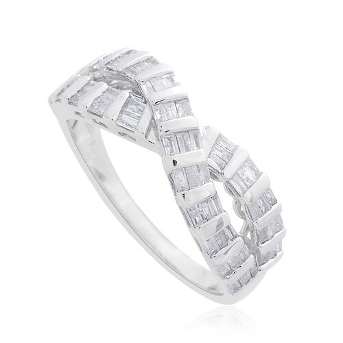 Diamond (Bgt) Criss Cross Ring in Platinum Overlay Sterling Silver 0.750 Ct.