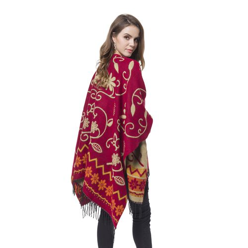 Designer Inspired- Beige and Orange Colour Floral Pattern Wine Red Colour Kimono with Tassels (Size 120X75 Cm)