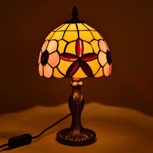 Limited Edition - Tiffany Style Table Lamp with Stained Glass Yellow, Pink and Multi Colour Red Colour Stones